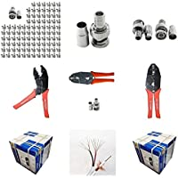 Evertech 100 Pcs BNC Male Crimp Connector for Siamase RG59 + Crimping Tool + 1000 Feet Siamese RG59 Video & Power Roll Cable