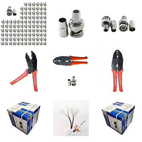 Evertech 100 Pcs BNC Male Crimp Connector for Siamase RG59 + Crimping Tool + 1000 Feet Siamese RG59 Video & Power Roll Cable (Rg59/u Cable Siamese Coaxial Bnc)