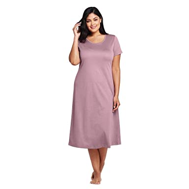 9f14896f1e8 Lands' End Women's Plus Size Midcalf Supima Cotton Nightgown, 1X, Violet  Thistle at Amazon Women's Clothing store: