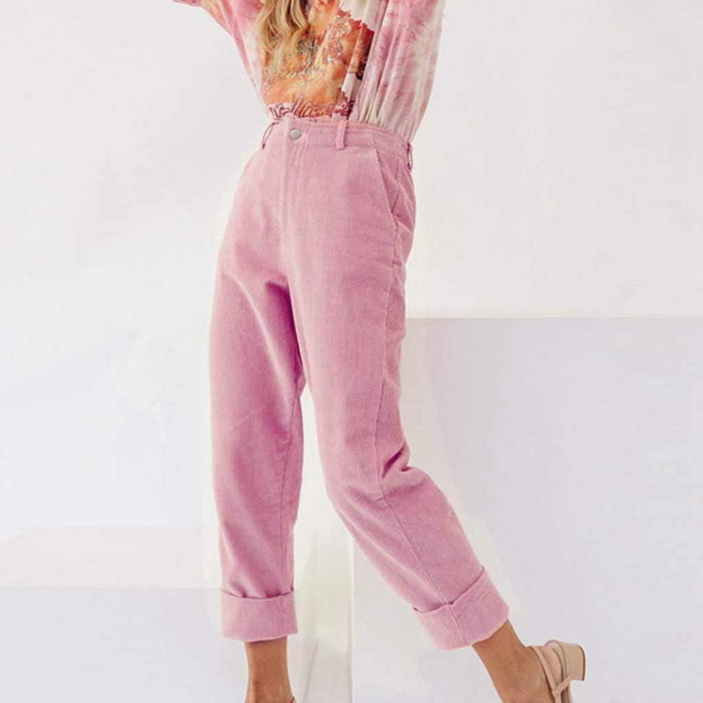 TOOGOO Pantalones De Pana De Color Solido De Moda Para Mujer Pantalones De Dobladillo De Pie Enrollable Informal Para Senora rosa M