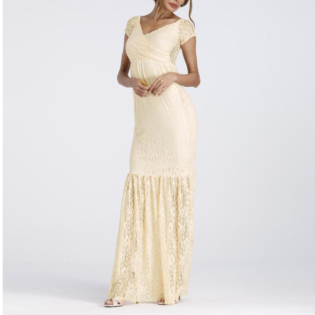 K-youth/® Sirena Mujer Embarazada Encaje Larga Vestido de Maternidad Foto Shoot Dress Faldas fotogr/áficas de Maternidad Fotogr/áficas de Maternidad Apoyos De Fotograf/ía