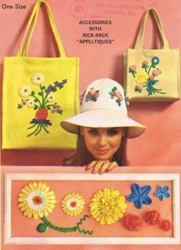 Simplicity 6430 Sewing Pattern Bag Hat Rick-Rack Flowers (Rick Rack Vintage)