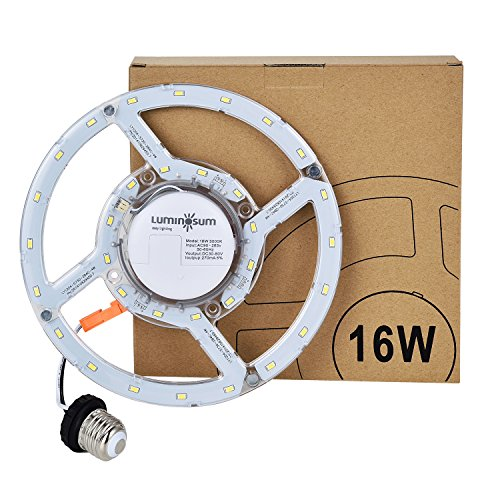 LUMINOSUM LED Retrofit Kit for 12-Inch Flush Mount Ceiling Light, 16W(120W Equivalent), 1450lm, 5000K, 90-265V, Circline Bulb Replacement for Ceiling Light, Fan Light, Downlight - Circline Adapter