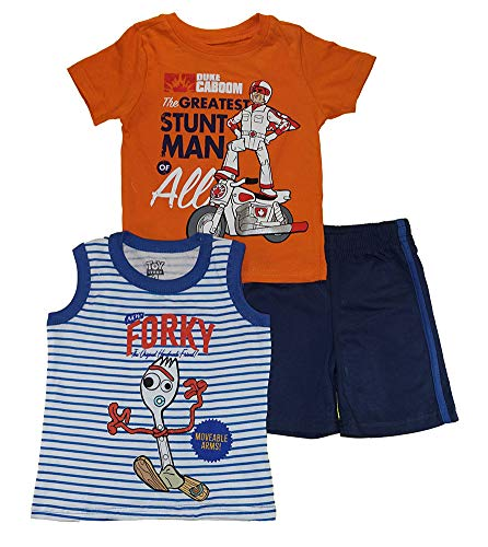 Toy Story 4 Little Boys Three-Piece Top & Short Set (3T, Stunt (Best Toy Story Joker Stories)