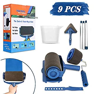 9Pcs Paint Roller Set, LIUMY Paint Runner Kit with 3 Knots Extension Pole,Handle Tool Painting Brush Set for House Wall,School & Office Wall, Ceiling,Quickly Decorate in Just Minutes (Black)