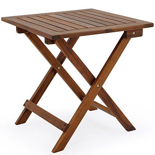 Deuba Mesa auxiliar de jardin madera de acacia mesita de cafe exterior plegable mesa de centro 46x46 cm terraza patio