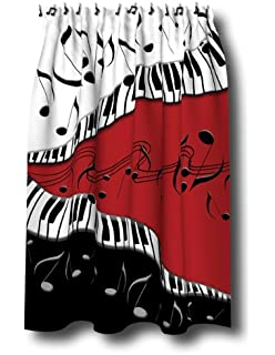 Good PIANO Keys MUSICAL Note SHOWER Curtain JAZZ Red Blk NEW By Borders Unlimited