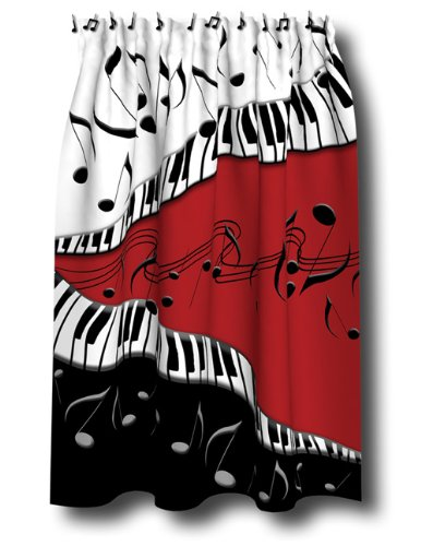 PIANO Keys MUSICAL Note SHOWER Curtain JAZZ Red Blk NEW By Borders Unlimited