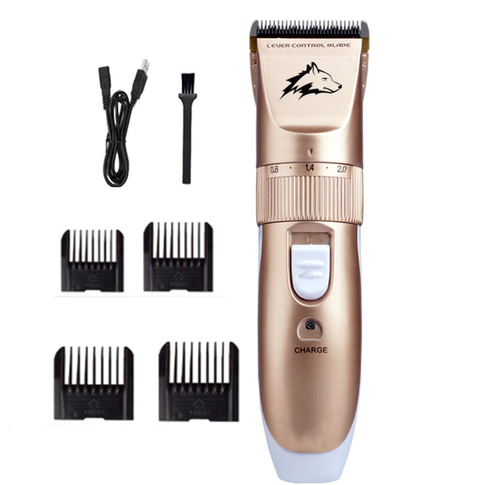 Dog Clippers Grooming Set, Pet Fur Clipper Set Professional Cordless Rechargable Grooming Electric Hair Shaver Trimmer Kit