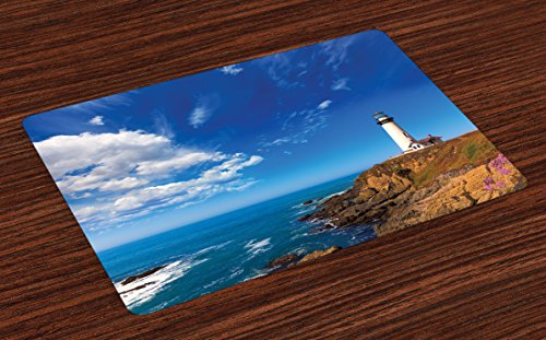 (Lunarable Lighthouse Place Mats Set of 4, California City Pigeon Point Lighthouse in Cabrillo Coastal Image Print, Washable Fabric Placemats for Dining Room Kitchen Table Decoration, Blue White Brown)