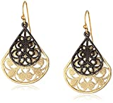 1928 Jewelry Filigree Pear Shape Overlay Drop Earrings