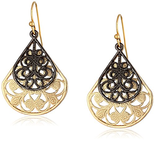 1928 Jewelry Gold and Black-Tone Filigree Pear Shape Overlay Drop Earrings