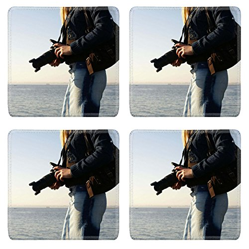 MSD Natural Rubber Square Coasters IMAGE ID: 854996 Young attractive female photographer on a beach (Natural Reflections Jeans compare prices)