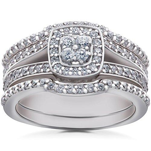 Tdw Wedding Ring Set (1 1/6 ct TDW Cushion Halo Diamond Trio Engagement Guard Wedding Ring Set Gold)