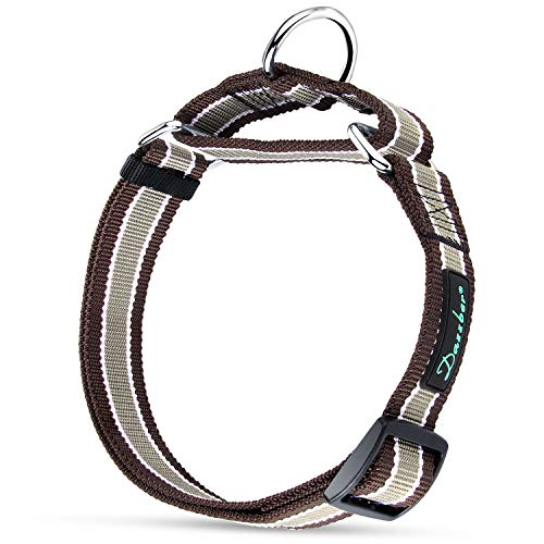Dazzber Wide Martingale Dog Collar, Khaki White and Brown, Neck 20 Inch -30 Inch, Extra Strong, No Pull No Choke, Recommend for Large XLarge - Collar Dog White Martingale
