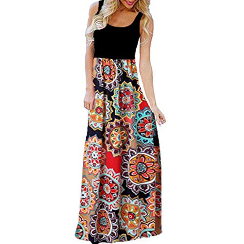 Women's Casual Sleeveless O-Neck Print Maxi Tank Long Dress