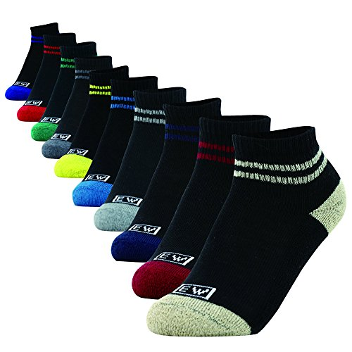 Enerwear 10P Pack Unisex Kids Cotton Cushion No Show Socks (Low Cut/Black, 7-8.5)