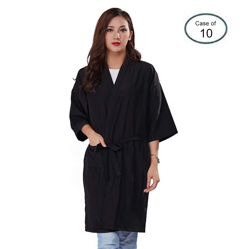 Case of 10 Packs, Kimono Style Salon Client Gown Robes Salon Smock Black by Lanburch