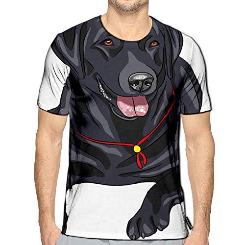 T-Shirt 3D Printed Smiling Black Gun Dog Breed Labrador Retriever Lying Casual T (Best Vitamins For Labradors)