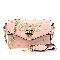 Luxury Diamond Women Handbag Pu Leather Bags Shoulder Bag Pink