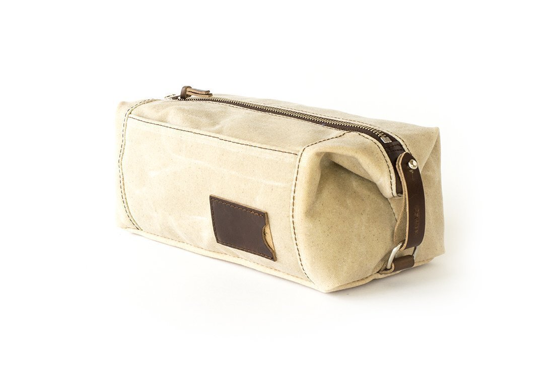 Waxed Canvas Dopp Kit: Large, Expandable, water-resistant, Hanging Toiletry Bag, Travel, Natural - No. 349 (Made in the USA)