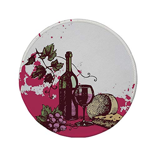Non-Slip Rubber Round Mouse Pad,Wine,Vintage Sketchy Artwork Cheese Alcoholic Drink Fruit Abstract Design Decorative,Hot Pink Olive Green Cream,7.87