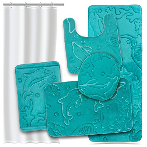 Bathroom Rugs Set 5 Piece Memory Foam Mats + Eva Shower Liner, Extra Soft Anti-Slip Shower Large Bath Rugs – Happy Feet, Happy Life, Teal