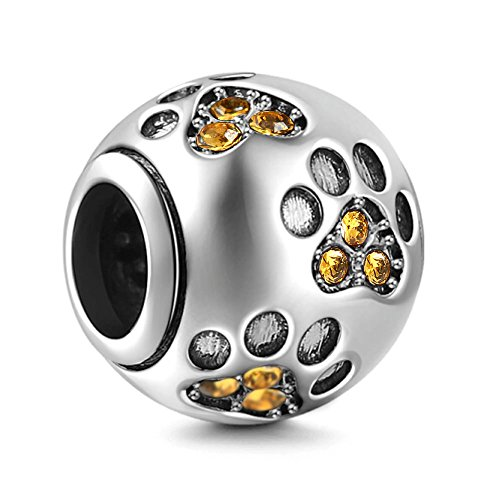 - Dog Paw Print Charms 925 Sterling Silver Animal Birthstone Crystal Charms for 3mm Snake Chain Bracelets (Yellow)