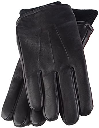 Mens Black Leather Gloves With Gift Box.