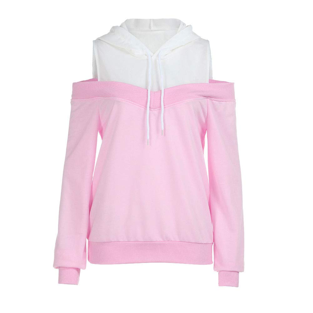 JiaMeng Damen Schulterfrei Langarm Hoodie Sweatshirt mit Kapuze Pullover Tops Bluse