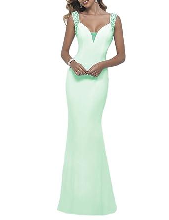 46a8368222973f OYISHA Womens Backless Long Prom Dress 2016 Sexy Evening Dresses Beaded  EV17 Light Green 2