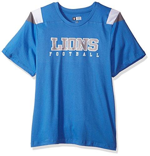 NFL Detroit Lions Women S/S SCOOP NECK PANEL SHOULDER, LION BLUE/GREY, (Detroit Lions Store)
