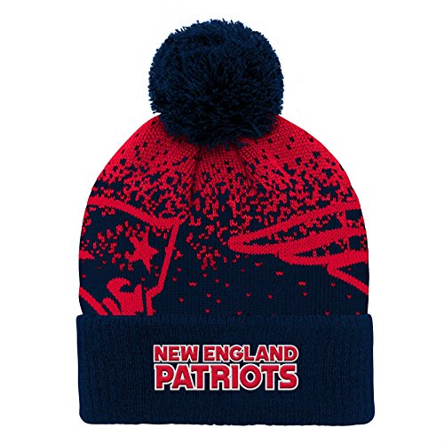 Outerstuff NFL New England Patriots Youth Boys Gradient Jacquard Cuffed Knit Hat Dark Navy, Youth One Size