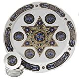 Passover Porcelain Seder Plate with Matching Plates