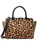 Michael Kors Women's Selma Medium Top Zip Satchel (Leopard/Butterscotch)