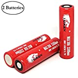 M&A BD Electronics Red Series IMR18650 3300mAh 30A 3.7V Rechargeable High Drain Flat Top Li-ion Battery (2-Pack with Plastic Storage Case) Replacement for IMREN 18650 Batteries