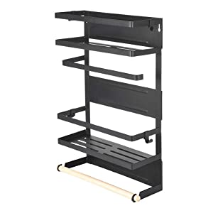 Refrigerator Magnetic Rack Organizer, Fridge Spice Storage Shelves, Bathroom Stand with Towel Bar for Kitchen Cabinet Cupboard by Mostbest