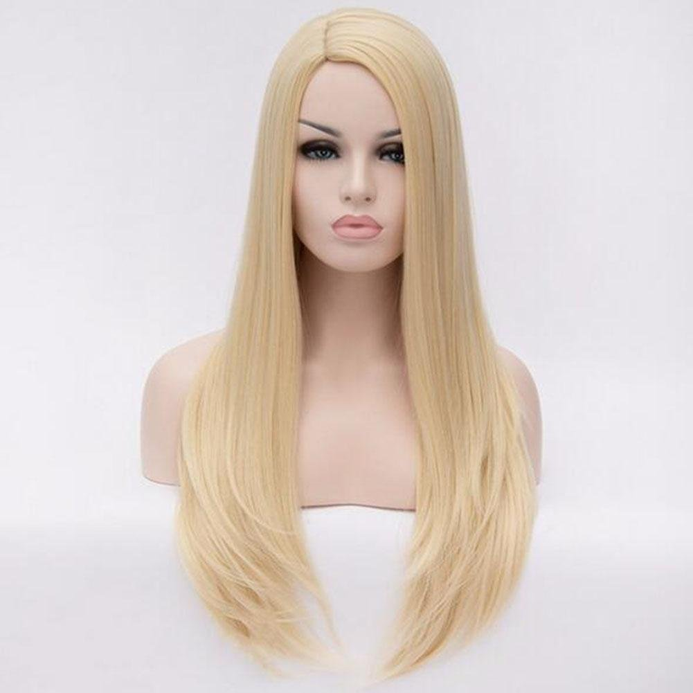 XUAN Cosplay Full Wig Heat Resistant Synthetic Wig Long Straight Vogue Girls Lady Fashion (golden blonde)