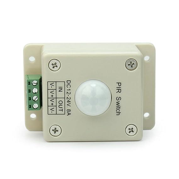 DC12V-24V 8A PIR Detector Sensor Infrarrojo Movimiento Interruptor para LED Luz: Amazon.es: Iluminación