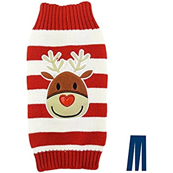 Mikayoo pet sweater for small dog/cat,Ugly Sweater,Color Horizontal Stripes,Christmas Holiday Xmas, Elk Series, Reindeer series,Reindeer Head(S)