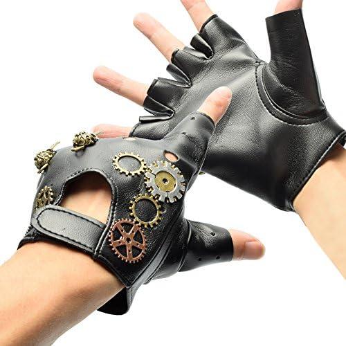 [スポンサー プロダクト]BLESSUME 指切りレザーロック手袋 本革 指なし 指ぬき フィンガーレス グローブ 手袋