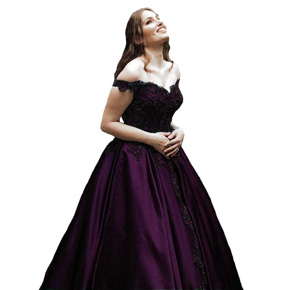 Dark Plum Kivary Off The Shoulder V Neck Beaded Lace Long Ball Gown Prom Evening Dresses