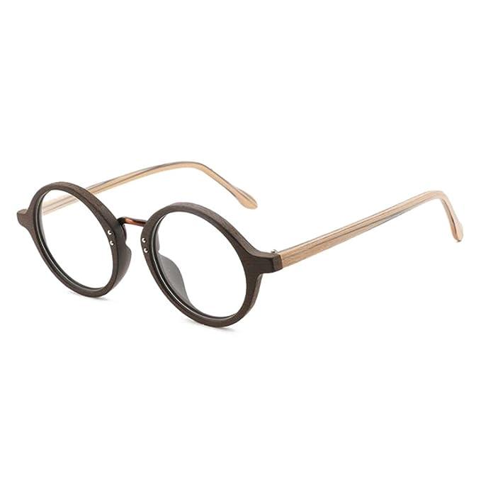 53f0fe467a Hibote Gafas de madera para hombres - Gafas de lentes transparentes - Gafas  redondas 18020707: Amazon.es: Ropa y accesorios