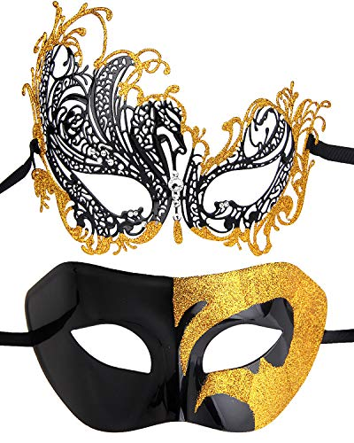 Couples Pair Evening Prom Venetian Masquerade Masks Set Party Costume Accessory -