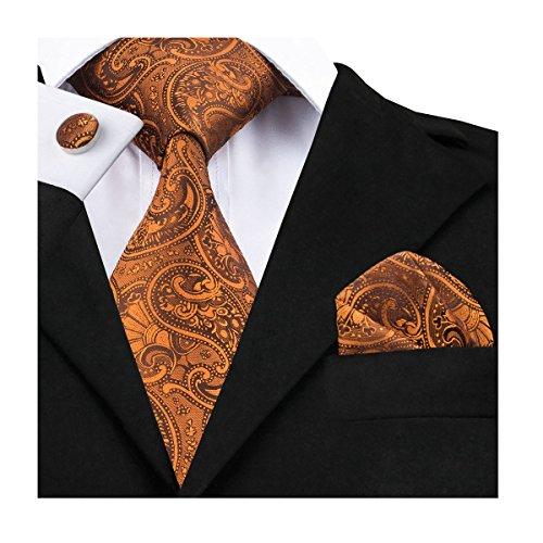 Dubulle Paisley Neckties for Men Tie and Pocket Square Cufflinks Set Dark Orange Jacquard Silk Tie -