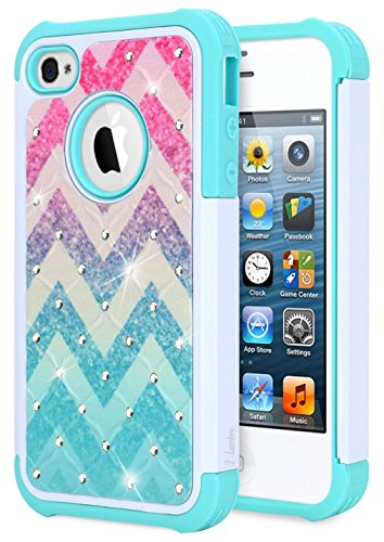 iPhone 4 Case, iPhone 4S Case, NageBee Glitter Diamond Hybrid Protective Armor Soft Silicone Cover with [Studded Rhinestone Bling] Design Sparkle Shiny Girls Cute Case -Wave (4s Iphone Cases Bling)