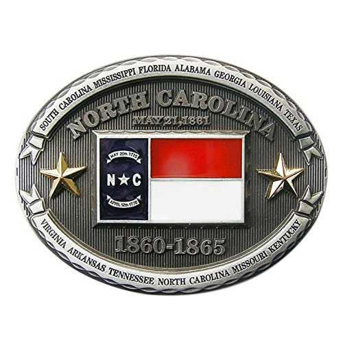 New Vintage North Carolina State Flag Oval Belt Buckle also Stock in US