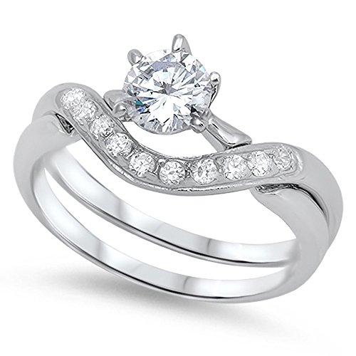 Women's Wedding Ring Set White CZ .925 Sterling Silver Designer Band Size 7