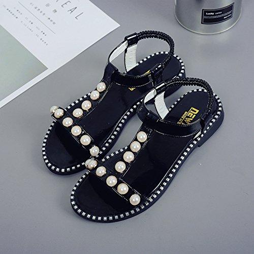 RUGAI-UE Sandalias planas de verano estudiante Zapatos Zapatos de moda patinaje puntera plana Black