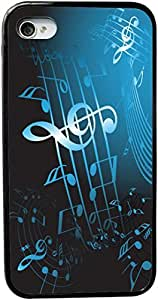 chen-shop design Rikki KnightTM Blue Music Notes Sheet Design iPhone 4 & 4s Case Cover (Black pc with bumper protection) for Apple iPhone 4 & 4s high quality